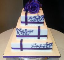 Purple Ribbon Wedding Cake (7267)