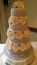 4 Tier Lilac & Roses Wedding Cake (7259)