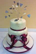 Ribbons & Hearts Wedding Cake (7261)