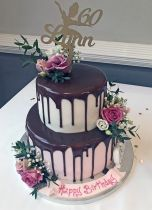 Two Tier Drip Cake with Flowers (8963)