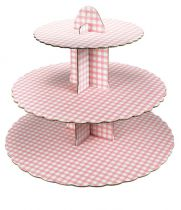 3 Tier Pink Gingham Cupcake Stand - Pack of 6