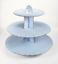 3 Tier Blue Gingham Cupcake Stand - Pack of 6