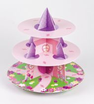 3 Tier Princess Castle Cupcake Stand - Pack of 6