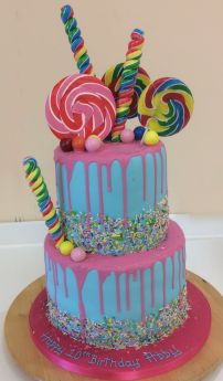 Two Tier Funky Drip Cake (8965)
