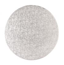 "14"" (355mm) Cake Board Round Silver Fern - single"