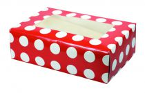 Red Polka Dot Coloured 6 Cupcake/Muffin Box