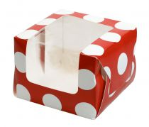 Red Polka Dot Single Muffin Boxes Retail Packed 6 piece