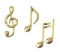 Assorted Gold Colour Plastic Musical Notes - 32mm