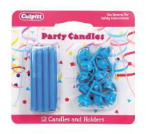 Blue Candles and Holders