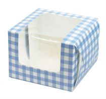 Blue Gingham Single Muffin Boxes 6 piece