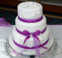 Purple Fabric Roses Wedding Cake (7266)