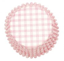 Pink Gingham Printed Baking Cases