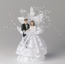 Bride and Groom with White Lace and Pearls