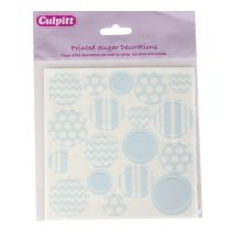 Printed Sugar Decorations Pastel Blue