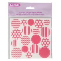 Printed Sugar Decorations Bright Pink