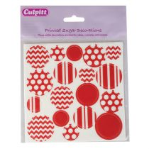 Printed Sugar Decorations Red