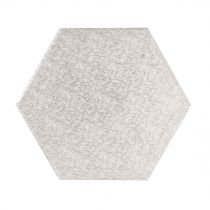 "14"" (355mm) Cake Board Hexagonal Silver Fern (5 Pack)"