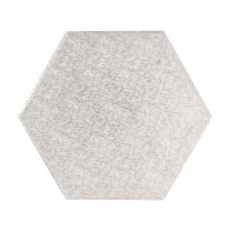 "8"" (203mm) Cake Board Hexagonal Silver Fern (5 Pack)"