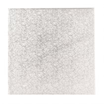 "12"" (304mm) Single Thick Square Turn Edge Cake Cards Silver Fern (1.75mm thick) - Boxed 10"