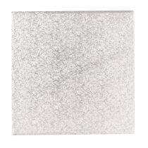 "12"" (304mm) Single Thick Square Turn Edge Cake Cards Silver Fern (1.75mm thick) - Boxed 25"