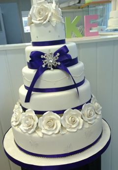 Purple & White 5 tier Wedding Cake (7265)