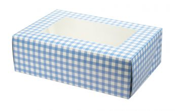 Blue Gingham Coloured 6 Cupcake/Muffin Box - 2 piece