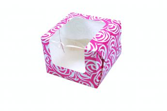 Pink Roses Single Muffin Boxes 6 piece