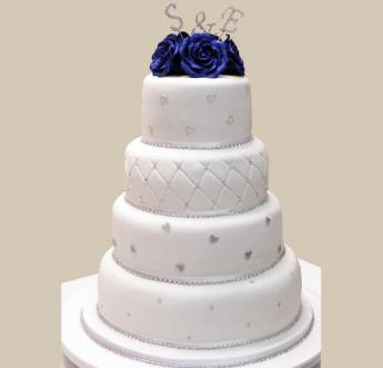 Blue Roses Wedding Cake (022)