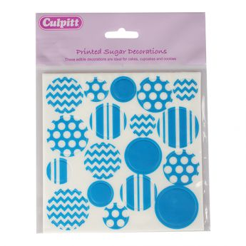 Printed Sugar Decorations Primary Blue