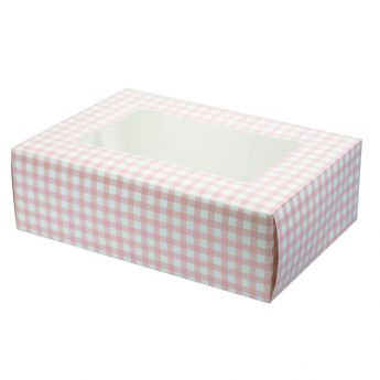 Pink Gingham Coloured 6 Cupcake/Muffin Box - 2 piece
