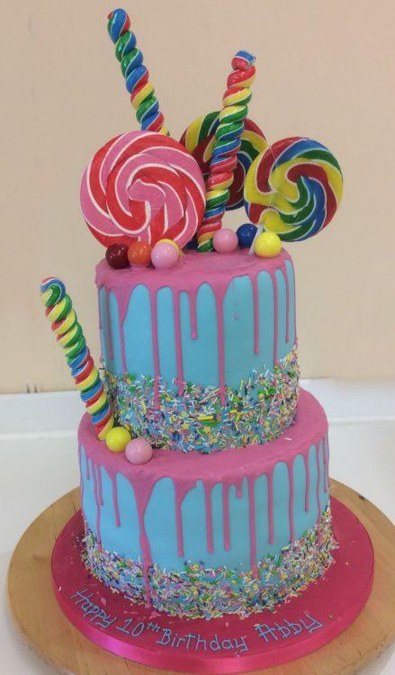 Phenomenal Two Tier Funky Drip Cake 8965 Sugar N Spice Cakes Personalised Birthday Cards Arneslily Jamesorg