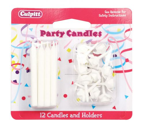 White Candles and Holders